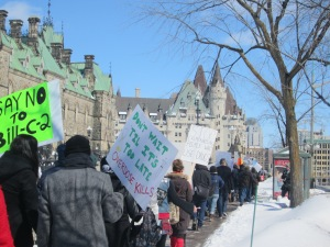 About 100 supporters marched to Parliament Hill yesterday to rally for safe injection sites.
