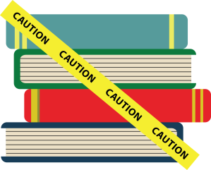 Stack-of-Caution-Books